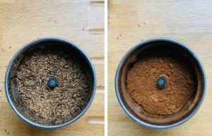 Blend pan roasted seeds to smooth ground cumin