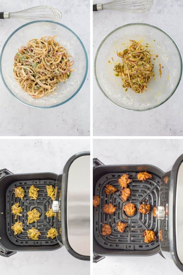 step by step method to make onion bhaji in air fryer