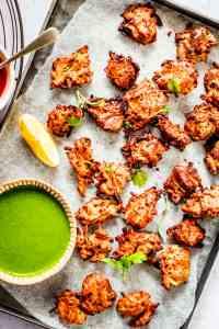 airfried onion pakora bhaji on tray
