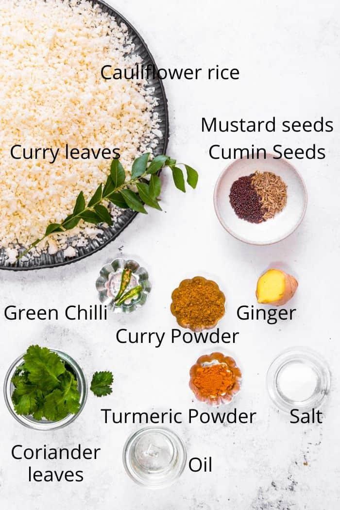 Ingredients Spicy Cauliflower rice