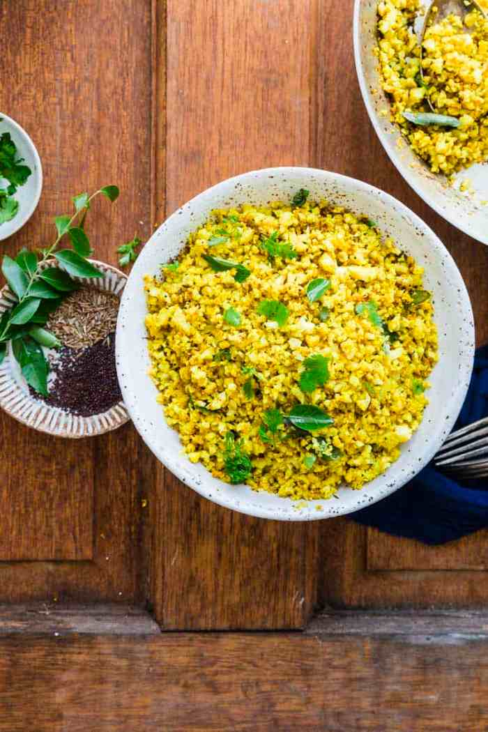 homemade indian spiced cauliflower rice bowl