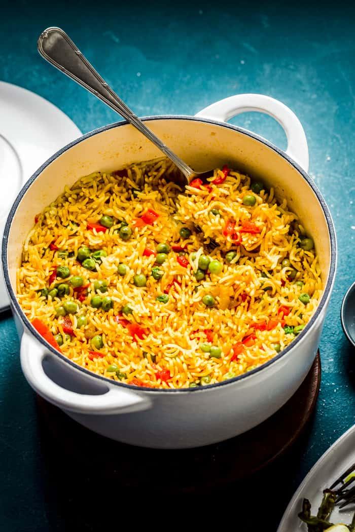Homemade Nando's rice  in a pan
