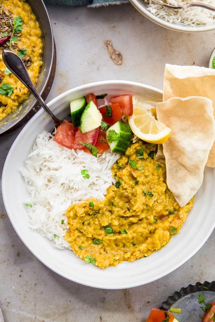 comforting bowl of rice, dahl and pappadam