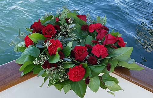 Wreath -Red Rose for scattering at sea