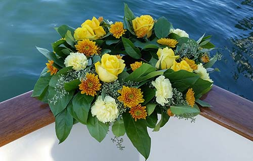 Wreath - Yellow rose for burial at sea