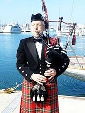 Bagpipes for a burial at sea service
