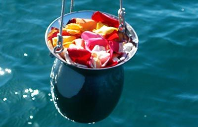 Cremains being lowered to ocean for ash scattering