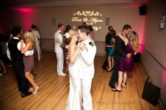 san-diego-military-wedding-custom-gobo-on-wall-with-pink-uplights