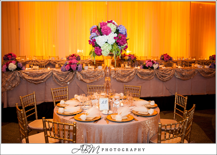 San Diego Sheraton Head Table Backdrop with Amber Uplights