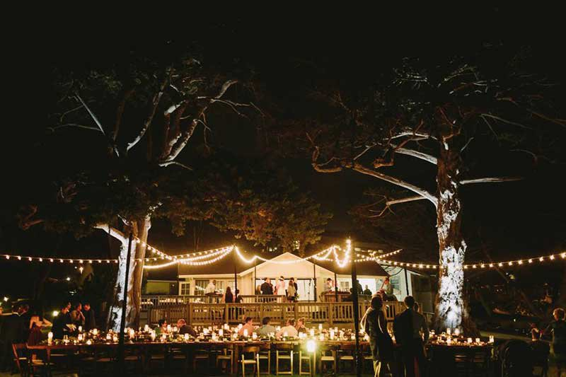 Martin Johnson House Wedding Lighting Market Lights Decks Grass