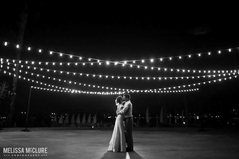 Paradise Point San Diego Wedding Lighting Market Lights over Dancefloor