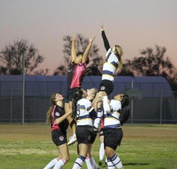 rugby girls cheerlead