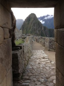 Huayna Picchu through an entry way.