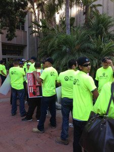 The line outside City Hall packed with paid employees of the maritime industry.