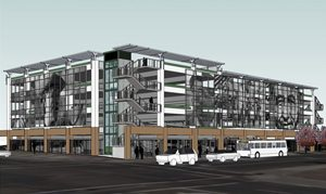 Artist rendering of Chávez parking structure on the corner of César Chávez Parkway and National Ave.