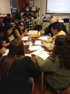 Chicano Park Steering Committee members discussing improvements.