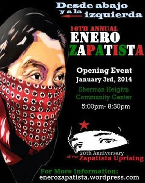 Flyer for the Enero Zapatista opening event.