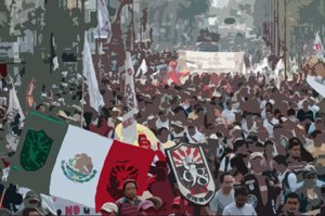 Mexicans demonstrate against the privatization of their oil industry.