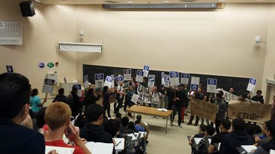 Striking Grad students disrupt classes at UCSD to demand an end to the 18 Quarter limit.