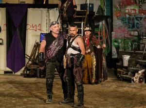 John Padilla, Lakin Valdez and Salomon Maya in La Jolla Playhouse's Without Walls production of EL HENRY; photo by Jim Carmody.