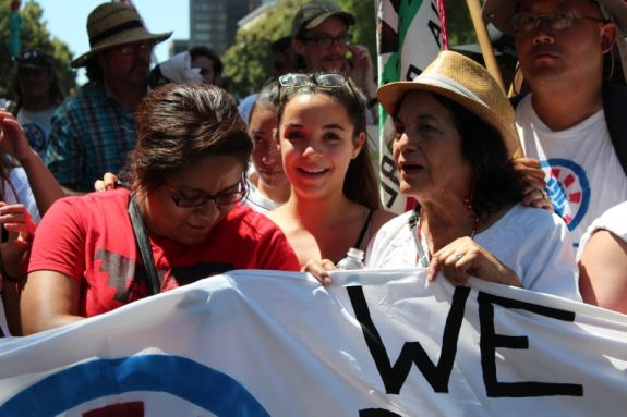 Dolores Huerta marched at the head of the march when it arrived in Sacramento on June 22. Photo by Dan Bacher.