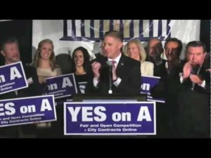 Then-Chamber head TJ Zane leads the Yes on A Cheerleading squad