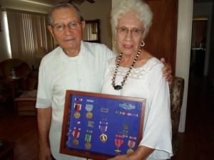 Johnny Rubalcava, Connie Zuniga and WWII medals
