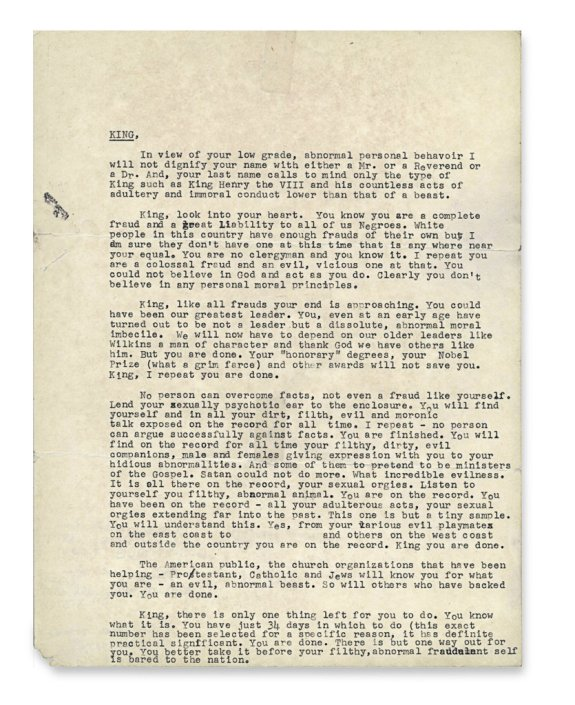 King letter via national archives
