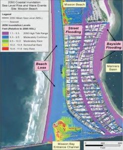 Rising seas will likely flood much of San Diego's Mission Beach by 2050. The area in purple would be flooded at high tide. The area in blue would be flooded about once in five years, when storm-driven waves come on top of rising seas and high tide. (Source: San Diego Foundation/California Climate Change Center.)