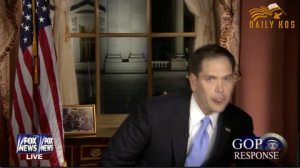 Cottonmouth Rubio replying to the SOTU.
