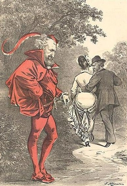 "A political cartoon by Joseph Keppler depicts Roscoe Conkling as a character Mephistopheles (the devil) while Rutherford B. Hayes strolls off with the prize of the ""Solid South"" depicted as a woman."