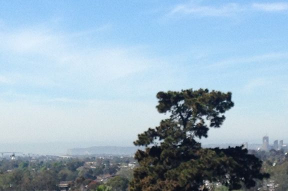 The first Pinnacle Tower appears as tallest building on the right as seen from street leading to Emerald Hills Neighborhood Park.  Bay Bridge and Point Loma in background to left.