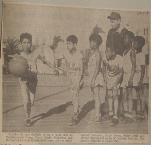 Newspaper photo showing Neighborhood House basketball team with Frankie Barajas and coach Pinkerton