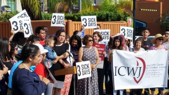 Assemblywoman Gonzalez with Paid Sick Leave supporters at rally  Photo by Rich Kacmar