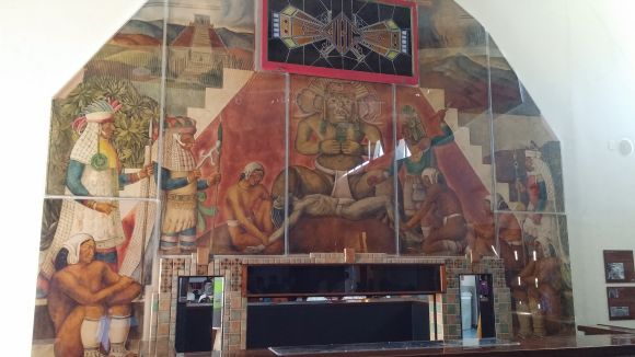 Mural and bar from Aztec Brewery