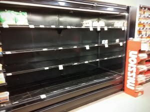 Empty shelves at the University Ave Haggen (2 weeks ago)