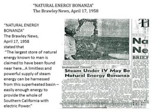 "The Brawley News clipping April 17, 1958: ""Natural Energy Bonanza"""