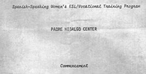 Padre Hidalgo Center commencement program