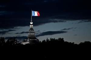 french flag at night