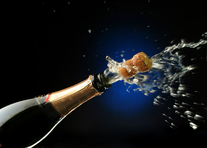 Champagne with cork popped