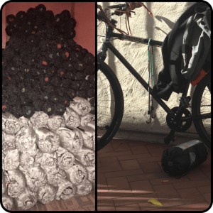 Stack of rolled up sleeping bags juxtaposed with image of part of Craig Miller's bike