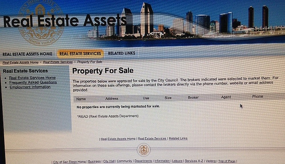"Screenshot of City of San Diego READ ""Property for Sale"" web page, Aug. 6, 2015"