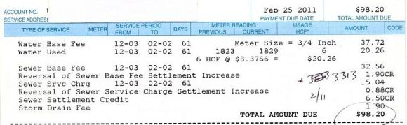 Water bill Dec/Jan 2011
