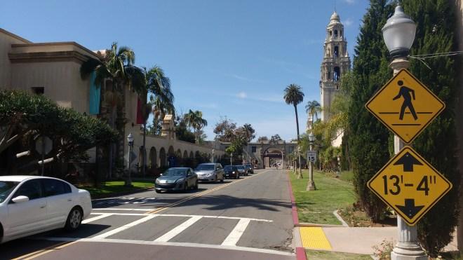 Balboa Park view along Laurel Street entrance promenade