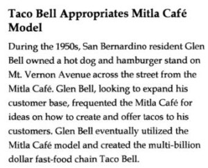 Newspaper article on Taco Bell and Mitla Café