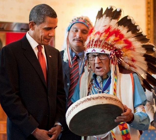 Joseph Medicine Crow and Barack Obama