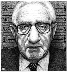 Stippled gray headshot sketch of Henry Kissinger in front of height ruler for police line-up