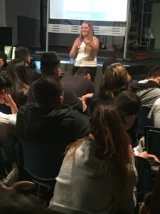 Lindsey Richardson engages students at Southwest High School.