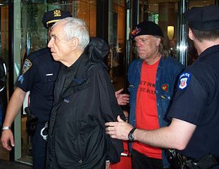Father Daniel Berrigan is arrested for civil disobedience outside the U.S. Mission to the U.N. in 2006.