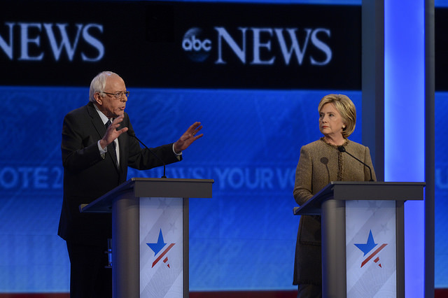 Sanders and Clinton at the Democratic Presidential debate from St. Anselm College in Manchester, NH, airing Saturday, Dec. 19, 2015